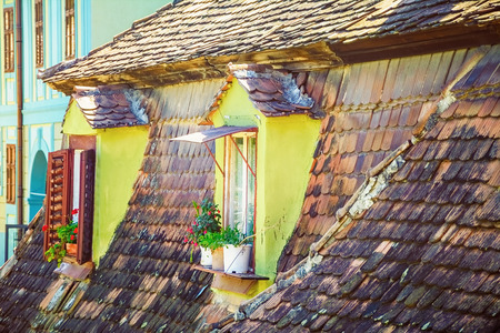 attic window: Mansard Windows of an Old House in the Medieval Town of Sighisoara, Romania