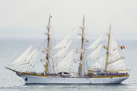 three masted: VARNA, BULGARIA - MAY 3, 2014: Three Masted Barque Mircea from Romania at the SCF Black Sea Tall Ships Regatta 2014
