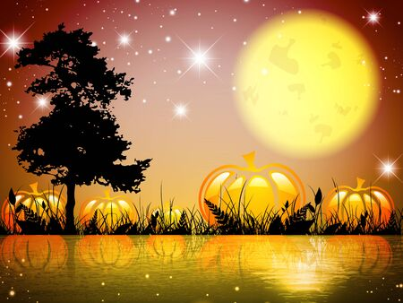 tree grass: Abstract Pumpkin Halloween Moon Night Lake With Grass and Tree