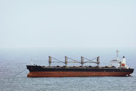 wheelhouse: Bulk Carrier Ship on Anchor in theBlack Sea Stock Photo