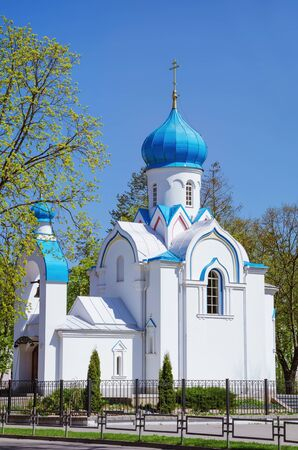 ortodox: White Ortodox Church, Daugavpils, Latvia Stock Photo