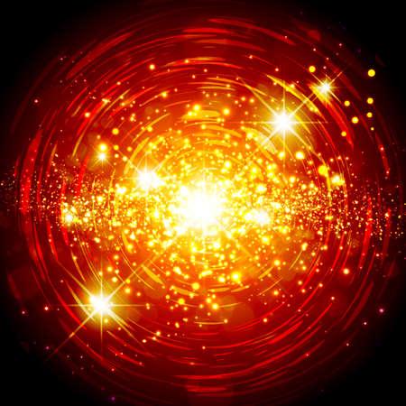 lucero: Extracto rojo brillante anaranjado de la estrella Fondo de la explosión Vectores