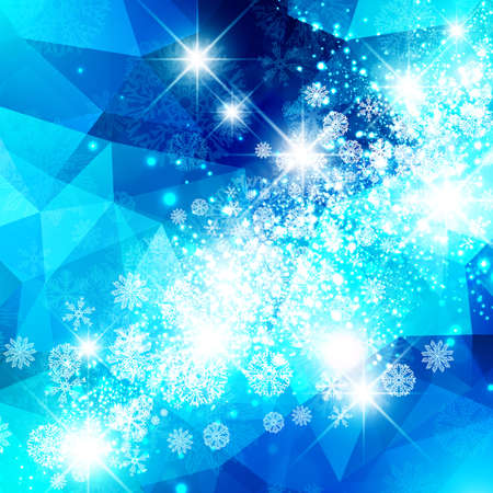 blue star background: Abstract Bright Blue Snowflake Christmas Star Background