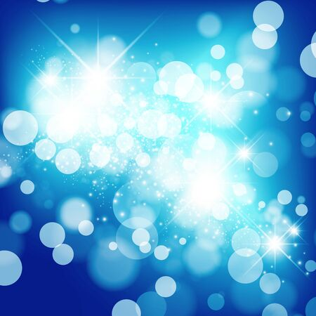 Abstract Bright Blue Christmas Holiday Star Background