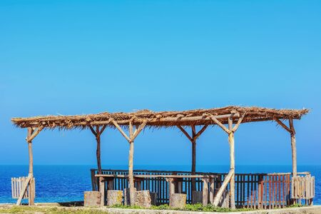 littoral: A wooden canopy on the Shore of the Black Sea Stock Photo