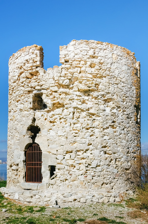 ruinous: An Old Ruined Tower in Nessebar, Bulgaria Stock Photo