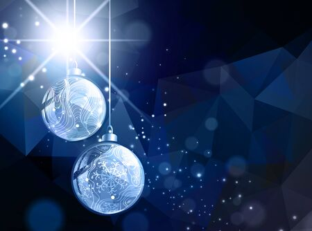 christmas baubles: Bright Dark Abstract Christmas and New Year Background With Star and Baubles