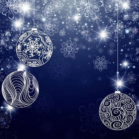 copyspace: Winter Holiday Background With Snowflakes, Balls and Copyspace