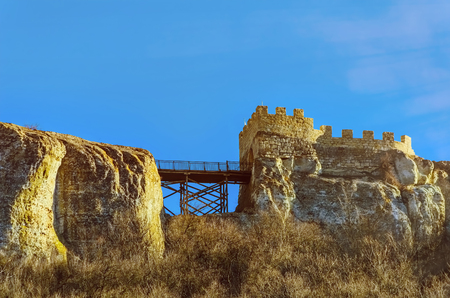 rock wall: Barbican and Bridge Of Ovech Fort in Provadia, Bulgaria Stock Photo
