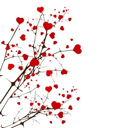 love tree: St.Valentine Day Love Tree With Hearts Over White Illustration