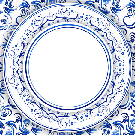 traditional pattern: Abstract Russian Gzhel Round Frame in Blue, Copyspace