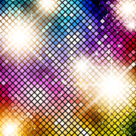 Illustration of Multicolored Bright Disco Background