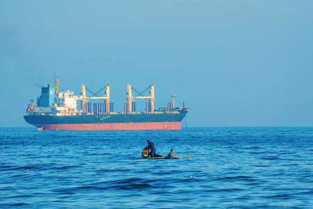fishingboat: VARNA, BULGARIA - NOVEMBER 14, 2015: Fishermen on the Boat in the Black Sea