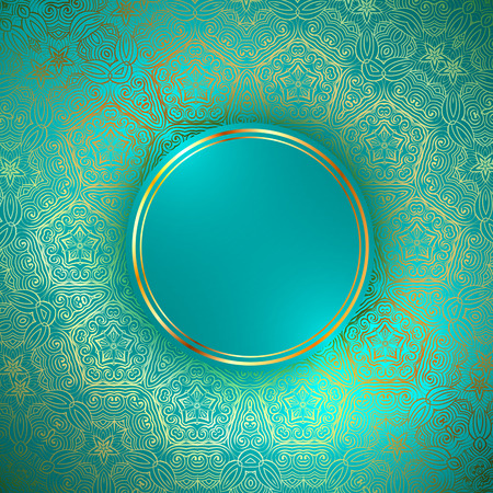 copyspace: Golden Round Abstract Frame Over Decorative Ornamental  Background, Copyspace