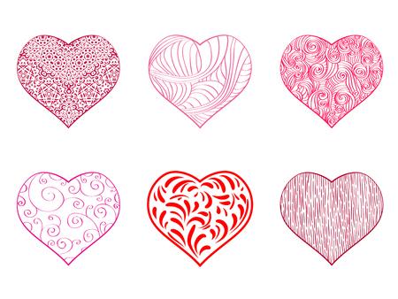 Ilustración de la mano del dibujo del corazón fijado sobre blanco