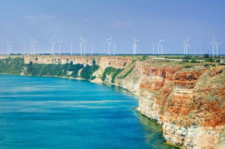 kinetic energy: Wind Turbines at the Cape Kaliakra, Bulgaria