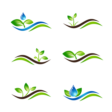 sprouts: Green Sprout Landscape Agricultural Icon Design Collection Over White