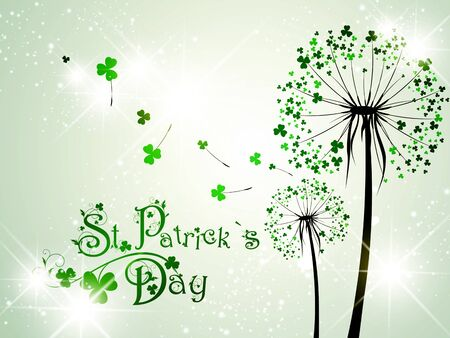 patrick: Saint Patrick Day Dandelions With Stars Illustration