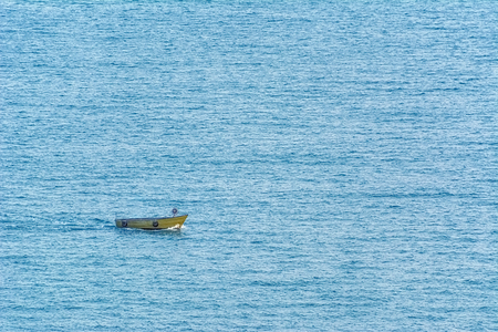 water transportation: Small Boat in The Black Sea Stock Photo