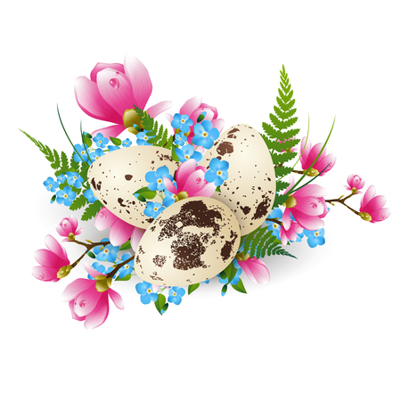 Illustration of Easter Quail Eggs Decorated With Fern and Flowers Over White Imagens - 53276021