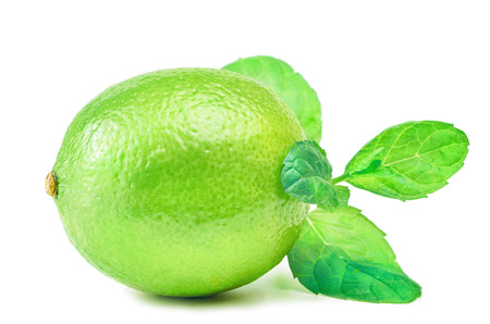 Native Lime over the White Background Stock Photo