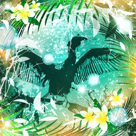 cormorant: Fantasy Nature Abstract Background With Cormorant Bird Illustration