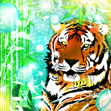 zoological: Fantasy Nature Abstract Background With Tiger Illustration
