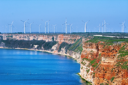 kinetic energy: Wind Turbines on the Cape Kaliakra, Bulgaria Stock Photo