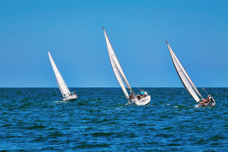 VARNA, BULGARIA - July 9, 2016: Moment of Yacht Race in the Black Sea Stock Photo - 59752272