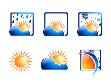 Weather Icon Collection Over White Background Illustration