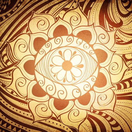 Fird Eye Abstract Henna Brown Color Mandala Vintage Background
