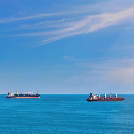 anchorage: Cargo Ships at Anchorage in Black Sea Stock Photo
