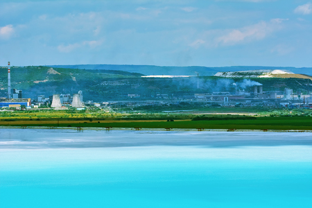 Lake of Chemical Waste. This Liquid Looking Very Attractive but its Very Life-threatening. Stock Photo