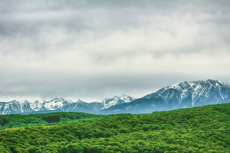 snowcovered: Snow-covered Carpathian Mountains Behind the Hills