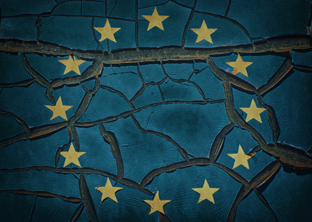 crannied: Cracked Emblem of the European Union Stock Photo