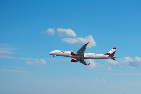 VARNA, BULGARIA - OCTOBER 04, 2016: The Aircraft of Austrian Airlines is Landing at Varna Airport