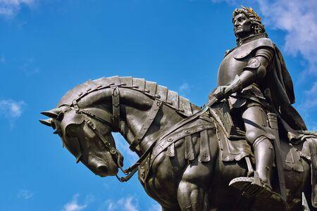 cluj: King Matthias Corvin Statue in Cluj-Napoca, Romania Stock Photo