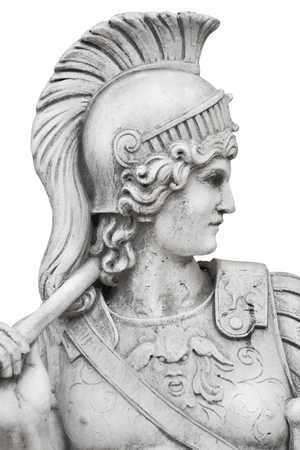 Sculptural Portrait of Warrior over the White Background Stock fotó
