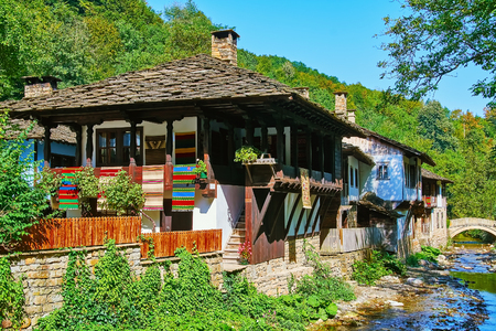Bulgarian Houses on the Bank of a Small River