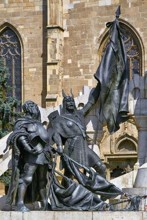 armoring: Statue of Warriors of King Matthias Corvinus in Cluj-Napoca, Romania Stock Photo