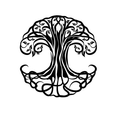Árbol de la vida silueta sobre fondo blanco