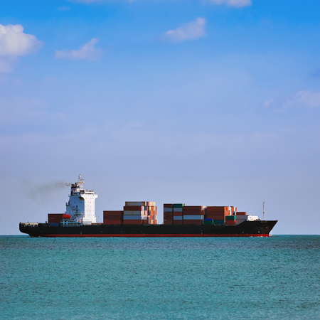 wheelhouse: Big Container Ship in the Black Sea Stock Photo