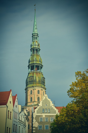 church steeple: St. Peter Church in the Old Town of Riga. Latvia. Stock Photo