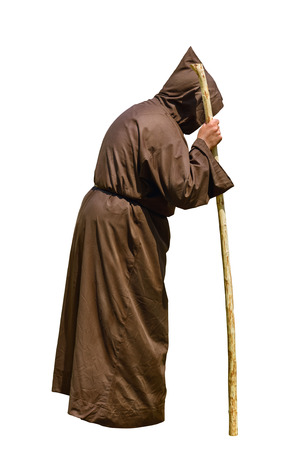 ascetic: Monk with a Stick over the White Background