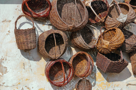 wattled: Old Wattled Baskets on the Cracked Wall