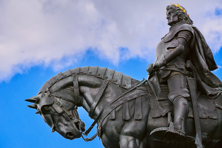 King Matthias Corvin Statue in Cluj-Napoca, Romania Stock Photo