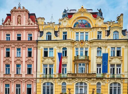 Facades of an Old Buildings in Prague, Czech Republik Stock Photo