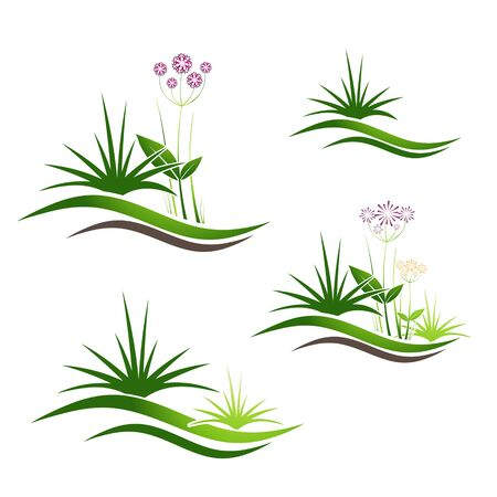 fields  grass: Illustration of Grass Gardening and Landscaping Logo Design Collection