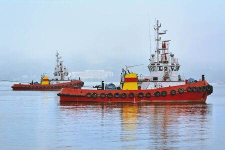 Two Tugboats Working in the Port Aquatorium Stock Photo