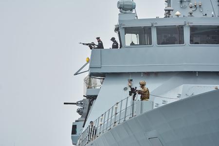 battleship: VARNA, BULGARIA - April 29, 2017: Right Board of HMS Daring, During the Visit of Varna Port